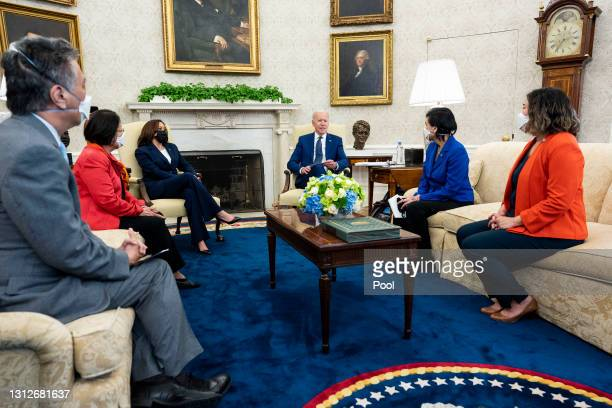 President Joe Biden and Vice President Kamala Harris meet with members of the Congressional Asian Pacific American Caucus Executive Committee,...