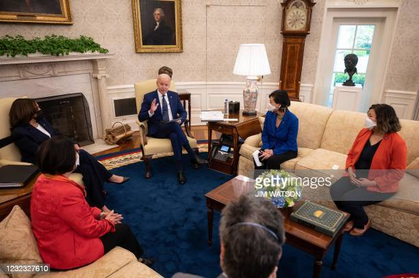 President Joe Biden and Vice President Kamala Harris meet with the Congressional Asian Pacific American Caucus Executive Committee at the White House...