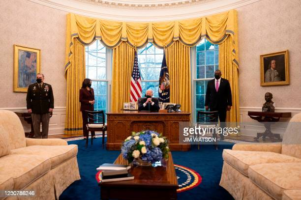 DC: President Biden Meets With Vice President And Top Defense Advisors
