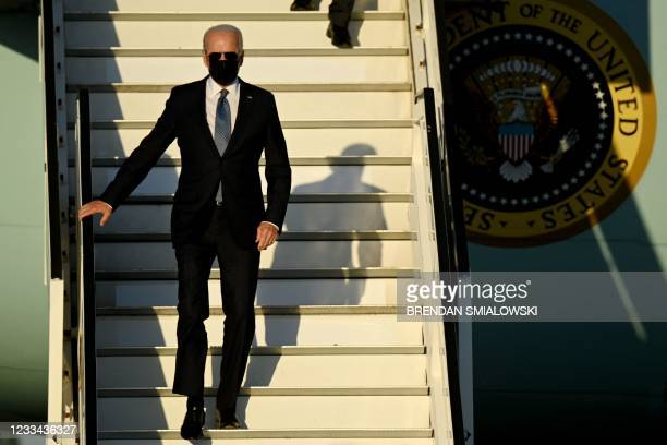 President Joe Biden arrives at Melsbroek Military Airport, near Brussels on June 13 for two days of summits with leaders from the NATO military...