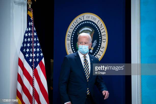 President Joe Biden arrives for a conference call on climate change with the Major Economies Forum on Energy and Climate in the South Court...