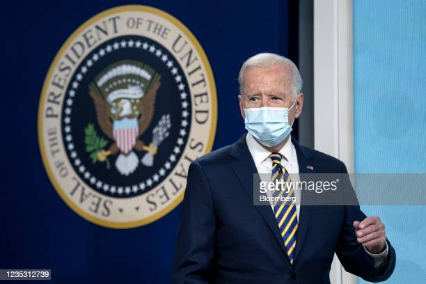 President Joe Biden arrives for a Major Economies Forum on Energy and Climate in the Eisenhower Executive Office Building in Washington, D.C., U.S.,...