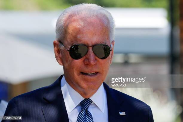 President Joe Biden arrives for a plenary session during G7 summit in Carbis Bay on June 13, 2021 in Cornwall, United Kingdom. UK Prime Minister,...