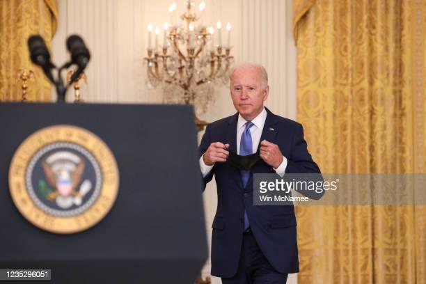 President Joe Biden arrives to speak during an event in the East Room of the White House September 16, 2021 in Washington, DC. Biden spoke about the...