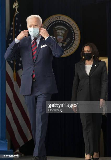 President Joe Biden arrives to speak in the Eisenhower Executive Office Building in Washington, D.C., U.S., on Wednesday, April 7, 2021....
