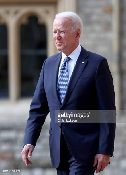 President Joe Biden at Windsor Castle on June 13, 2021 in Windsor, England. Queen Elizabeth II hosts US President, Joe Biden and First Lady Dr Jill...
