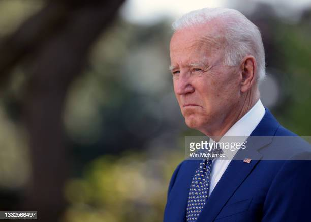 President Joe Biden attends a ceremony where he signed a bill honoring law enforcement, in the Rose Garden of the White House on August 5, 2021 in...