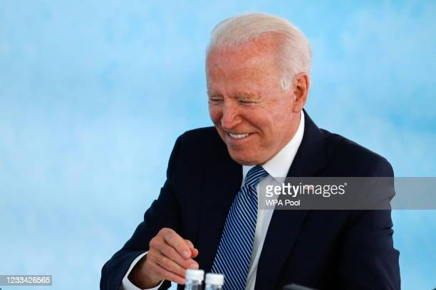 President Joe Biden attends a plenary session during G7 summit in Carbis Bay on June 13, 2021 in Cornwall, United Kingdom. UK Prime Minister, Boris...