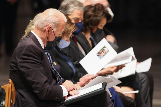 DC: President Biden Attends Funeral Of Late Senator John Warner At Washington National Cathedral