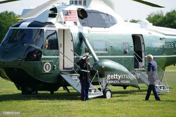 President Joe Biden boards Marine One on The Ellipse, south of the White House, in Washington, DC on June 2 as he departs for Rehoboth Beach,...