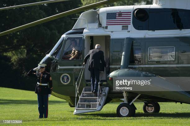 President Joe Biden boards Marine One on the South Lawn of the White House in Washington, D.C., U.S., on Tuesday, Sept. 7, 2021. Biden today is...