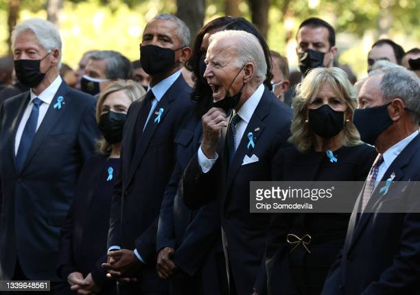 President Joe Biden calls out as he is joined by former President Bill Clinton, former First Lady Hillary Clinton, former President Barack Obama,...