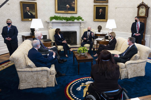 DC: President Biden Meets With Bipartisan House And Senate Lawmakers On U.S. Supply Chains