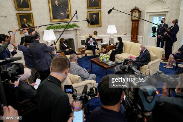President Joe Biden, center, speaks during a meeting with U.S Vice President Kamala Harris and a bipartisan group of members of Congress in the Oval...