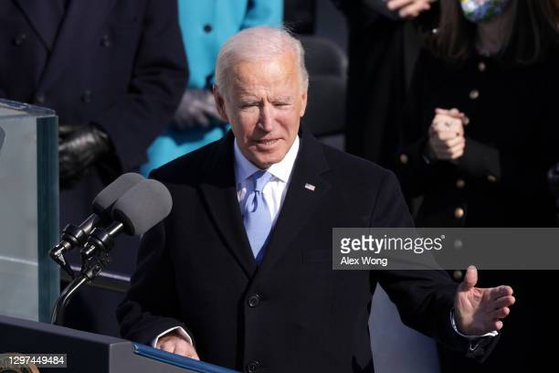 President Joe Biden delivers his inaugural address on the West Front of the U.S. Capitol on January 20, 2021 in Washington, DC. During today's...