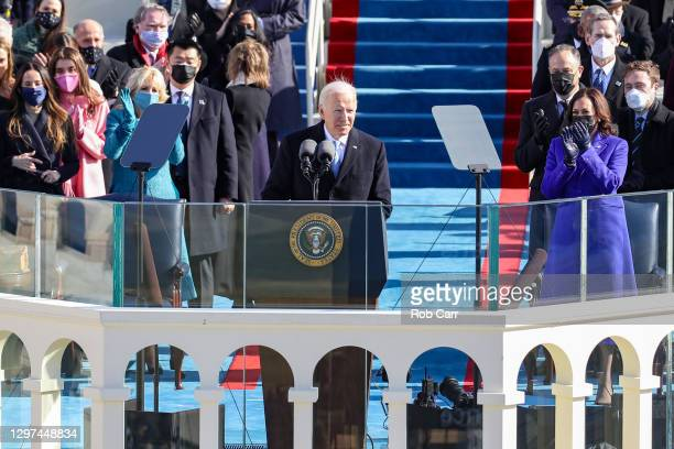 President Joe Biden delivers his inauguration address on the West Front of the U.S. Capitol on January 20, 2021 in Washington, DC. During today's...