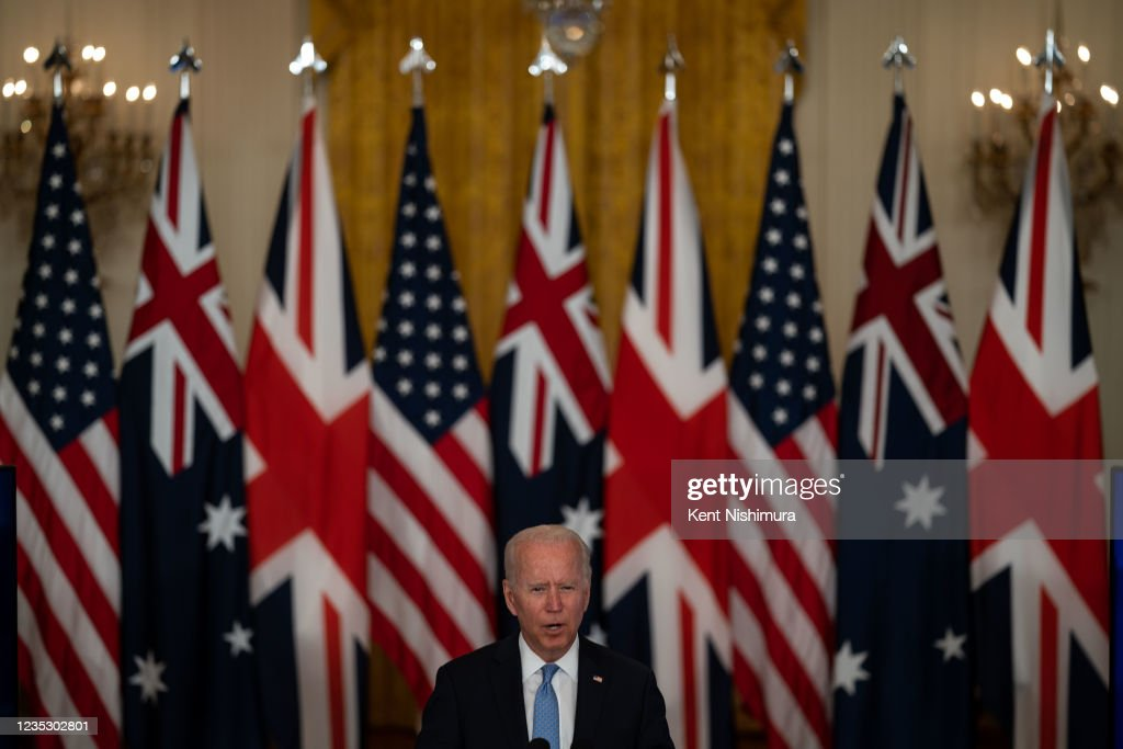 President Biden announces that the US will share nuclear submarine technology with Australia : News Photo