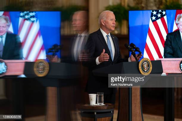 President Joe Biden delivers remarks about a national security initiative to announce that the United Staters will share nuclear submarine technology...