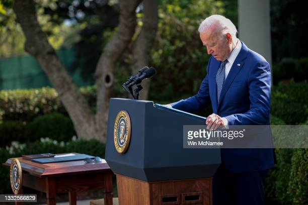 President Joe Biden delivers remarks about the attack on the U.S. Capitol in the Rose Garden of the White House on August 5, 2021 in Washington, DC....