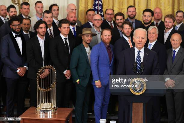 President Joe Biden delivers remarks as he hosts the 2020 World Series champion Los Angeles Dodgers in the East Room of the White House on July 02,...