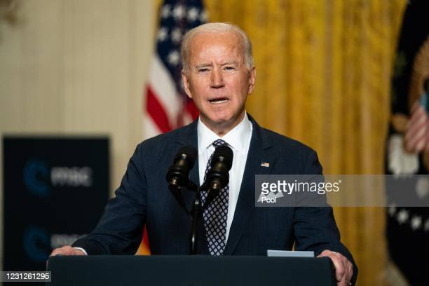 President Joe Biden delivers remarks at a virtual event hosted by the Munich Security Conference in the East Room of the White House on February 19,...