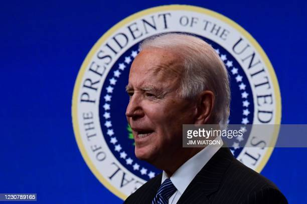 "President Joe Biden delivers remarks before signing a ""Made in America"" Executive Order in the South Court Auditorium at the White House on January..."