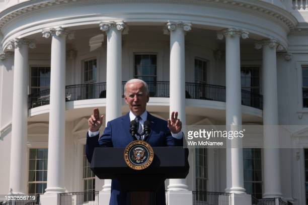 President Joe Biden delivers remarks during an event on the South Lawn of the White House August 5, 2021 in Washington, DC. Biden delivered remarks...