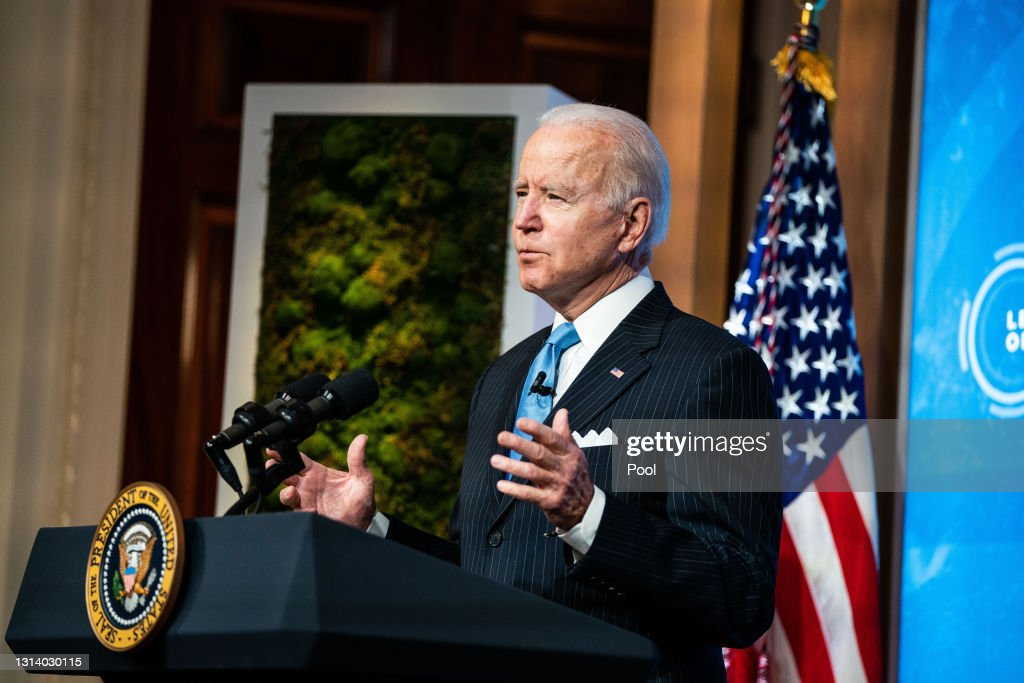 President Biden And Vice President Harris Participate In Virtual Leaders Summit On Climate : News Photo