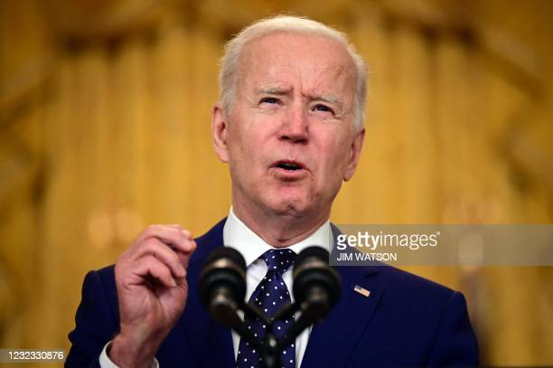 President Joe Biden delivers remarks on Russia at the White House in Washington, DC on April 15, 2021. - The United States announced sanctions and...