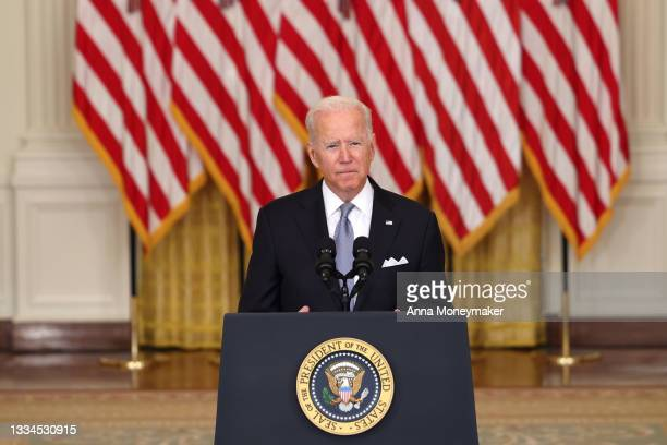 President Joe Biden delivers remarks on the worsening crisis in Afghanistan from the East Room of the White House August 16, 2021 in Washington, DC....
