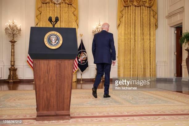 President Joe Biden departs after speaking during an event in the East Room of the White House September 16, 2021 in Washington, DC. Biden spoke...
