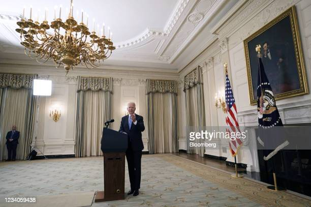 President Joe Biden departs after speaking in the State Dining Room of the White House in Washington, D.C., U.S., on Monday, July 19, 2021....