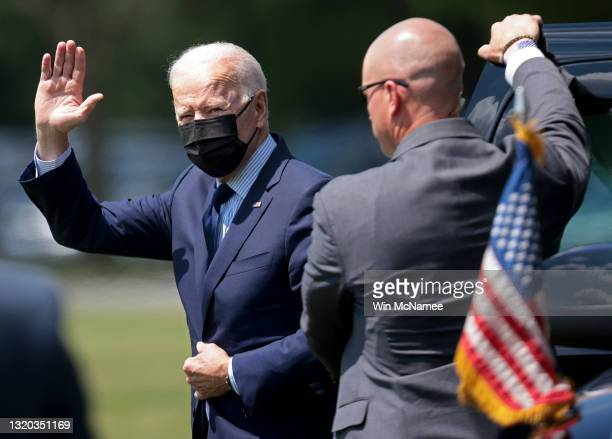 President Joe Biden departs the White House on May 27, 2021 in Washington, DC. Biden is scheduled to travel to Cleveland, Ohio today and return to...