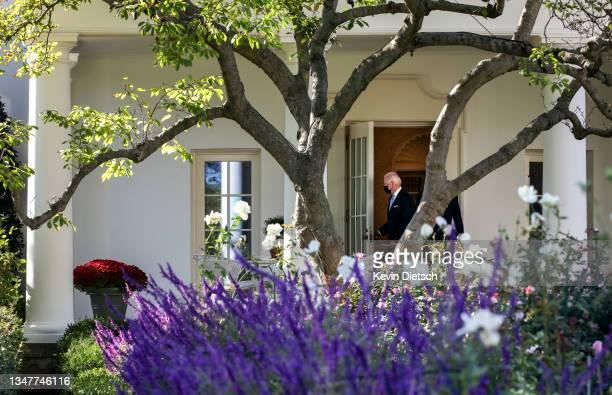 President Joe Biden departs the White House on October 20, 2021 in Washington, DC. President Biden is traveling to Scranton, Pennsylvania to promote...