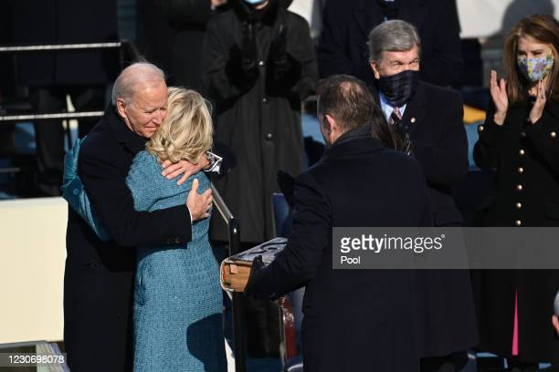 President Joe Biden embarrasses US First Lady Jill Biden after being sworn in as the 46th US President during the 59th Presidential Inauguration at...