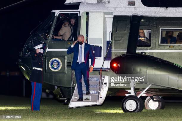 President Joe Biden exits from Marine One as he arrives on the South Lawn of the White House in Washington, D.C., U.S., on Tuesday, Sept. 14, 2021....