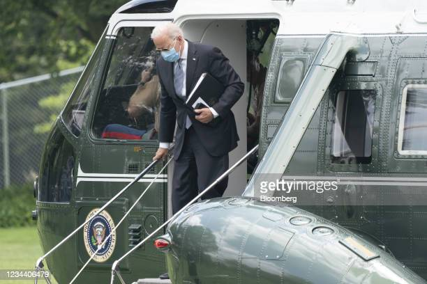 President Joe Biden exits from Marine One on the South Lawn of the White House in Washington, D.C., U.S., on Monday, Aug. 2, 2021. The U.S. Senate is...