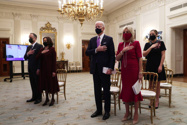 DC: President Joe Biden, First Lady Dr. Jill Biden, Vice President Kamala Harris And Second Gentleman Doug Emhoff Watch Virtual Presidential Inaugural Prayer Service