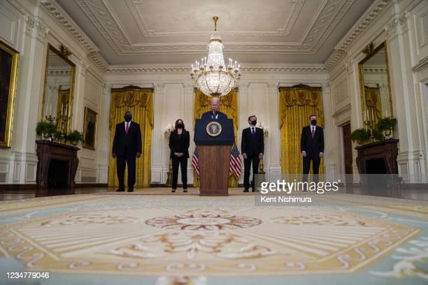 President Joe Biden, flanked by Secretary of Defense Lloyd Austin, Vice President Kamala Harris, Secretary of State Antony Blinken and White House...