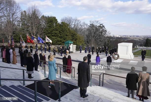 President Joe Biden, from center right, Vice President Kamala Harris, Major General Omar J. Jones, former First Lady Michelle Obama and former U.S....