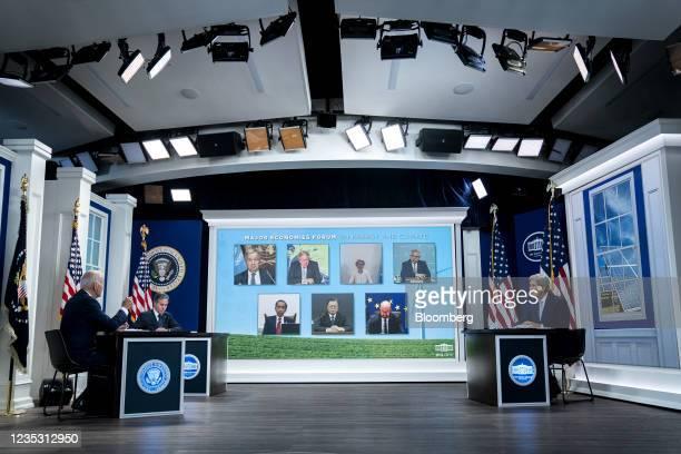 President Joe Biden, from left, Antony Blinken, U.S. Secretary of state, and John Kerry, U.S special presidential envoy for climate, during a Major...