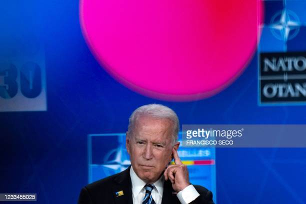 President Joe Biden gives a press conference after the NATO summit at the North Atlantic Treaty Organization headquarters in Brussels, on June 14,...