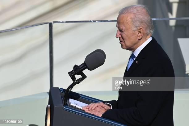 President Joe Biden gives his Inauguration speech after being sworn in as the 46th US President during the 59th Presidential Inauguration at the U.S....