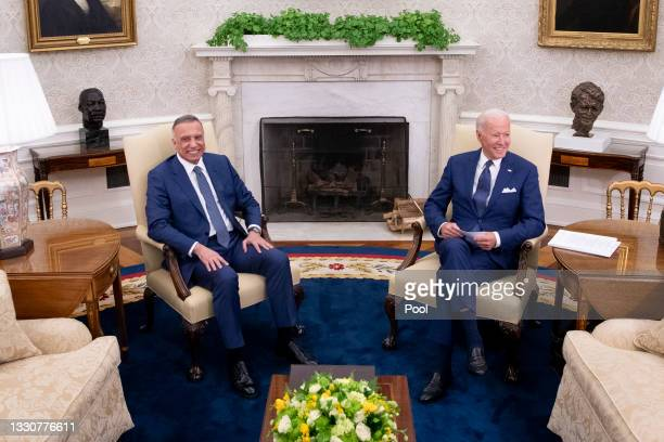 President Joe Biden hosts Iraqi Prime Minister Mustafa Al-Kadhimi for a bilateral meeting in the Oval Office at the White House on July 26, 2021 in...