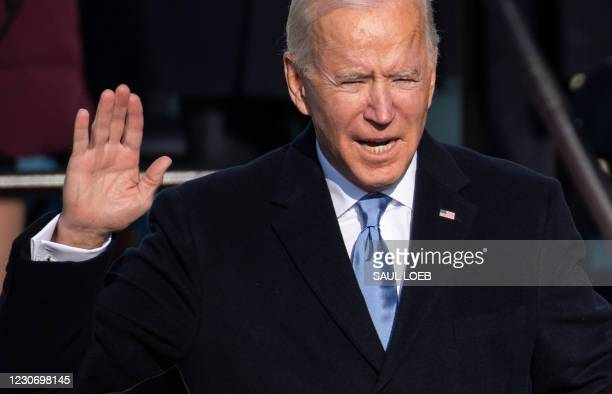 President Joe Biden is sworn in as the 46th US President on January 20 at the US Capitol in Washington, DC.