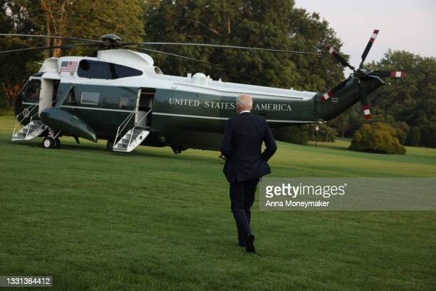 President Joe Biden jogs to Marine One for a departure from the South Lawn of the White House on July 28, 2021 in Washington, DC. President Biden is...