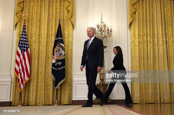 President Joe Biden, joined by Vice President Kamala Harris, arrive to give an update on his administration's COVID-19 response and vaccination...