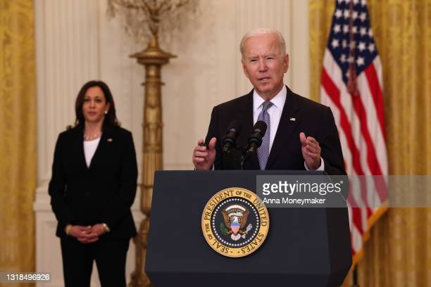 President Joe Biden, joined by Vice President Kamala Harris, gives an update on his administration's COVID-19 response and vaccination program in the...