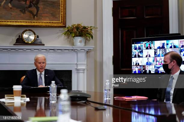 President Joe Biden joins a CEO Summit on Semiconductor and Supply Chain Resilience via video conference with National Security Advisor Jake Sullivan...