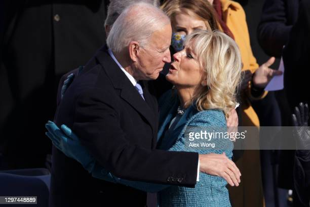 President Joe Biden kisses First Lady Jill Biden after his inauguration on the West Front of the U.S. Capitol on January 20, 2021 in Washington, DC....